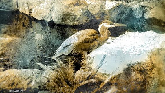 The Heron, Visitation, archival pigment print, bird print, nature print, artist garden,limited edition
