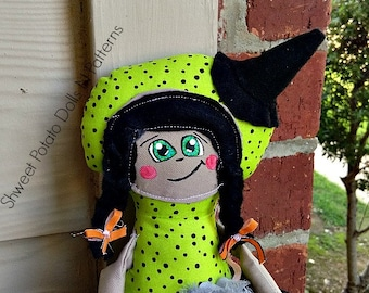 Whimsical, Primitive, Witch, Art Doll, Halloween,  Cloth Doll