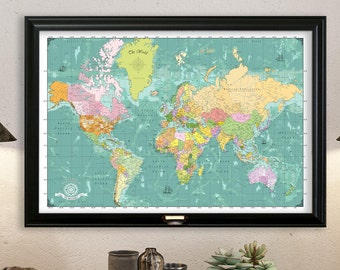 Wedding Travel Map. Push Pin Map. World Travel Map. Framed 24x36 Map,  Modern  2017 Geography. Map 2033