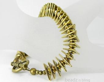 Gold Bracelet Modern Geometric Toggle Bracelet Unique Easy On Easy Off