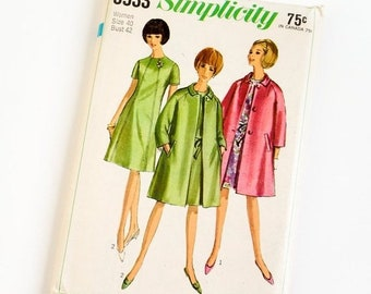 Shop SALE Vintage 1960s Womens Size 40 One Piece Dress and Coat Simplicity Sewing Pattern 6933 FACTORY Folds / b42 w34