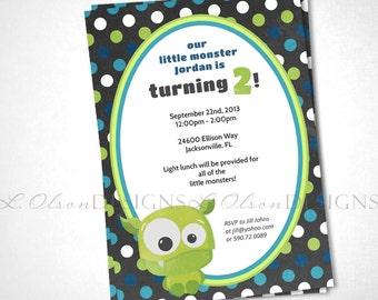 Baby Monsters Birthday Party Invitation - DIY Printable