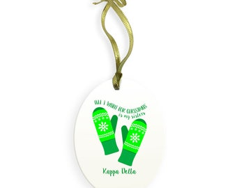 Kappa Delta Holiday Color All I Want for Christmas Ornament