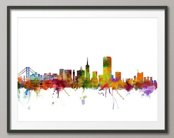 San Francisco Skyline, San Francisco California Cityscape Art Print (1201)