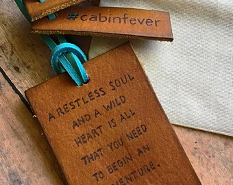 Travel Gift - Leather Luggage Tag - Genuine Leather Luggage Tag Wanderlust Leather