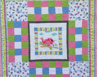Baby Blanket Birds on a Limb handmade appliqued paychwork baby quilt
