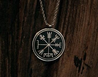 Vegvísir icelandic talisman - sterling silver necklace