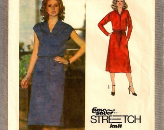 """A Sleeveless or Long Sleeve, Elastic Waistline, Shawl Collar, Buttoned Bodice Dress Pattern for Women: Size 16, Bust 38"""" • Simplicity 9081"""