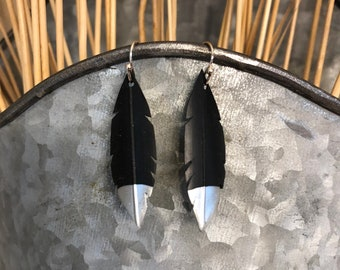 Silver dipped recycled bike tube earrings