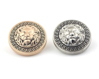 6 Pcs 0.59~0.79 Inches High-grade British Silver/Matte Gold Lion Head Metal Shank Buttons For Suits Coats Sweaters