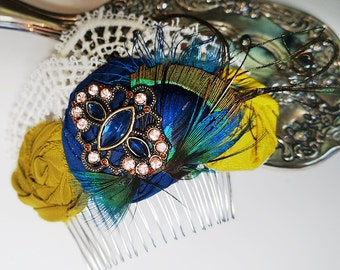 Peacock Vintage Inspired Green and Blue Lace Hair Small Flower Clip Fascinator