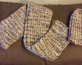 Gery knit ribbed scarf