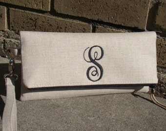 Linen Monogrammed Clutch, Bridal Clutches, Bridesmaid Gift, Wedding Gifts, Vintage Wedding, Bridesmaid clutch, Personalized gift