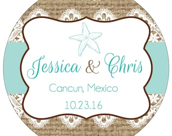 32 - 3 inch Custom Glossy Waterproof Destination Wedding Stickers Labels - many designs to choose from - FAST SHIPPING -WR-137