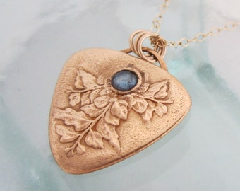 Handcrafted Golden Ferns and Labradorite Necklace