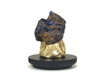 Azurite Abstract Art Sculpture - Azure / Gold, Home Decor, Desk Decor, Sculpture, Azurite, Raw Azurite