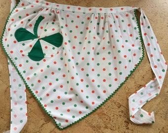 Vintage Apron With Three Leaf Clover and Polka Dots
