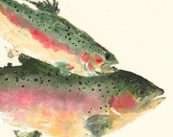 "Rainbow Trout - ""Over the Rainbow"" - Gyotaku Fish Rubbing - Limited Edition Print (17 x 12.5)"