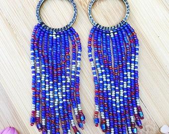 SALE!!!!!! 20% OFF Seed Bead Earrings, Fringe Seed Bead Earrings, Long Fringe Seed Bead Earrings, Tassel  Earrings, Native American Inspired