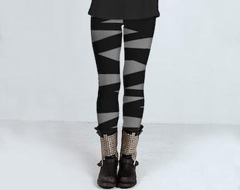 Gray leggings with ballerina stripes in black, bandage leggings, handmade, yoga pants, ballerina tights