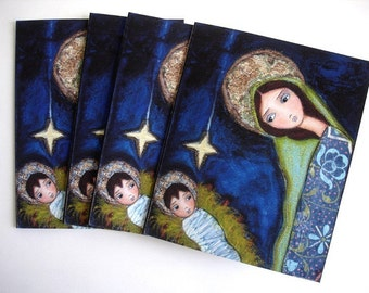Nativity  Star  - Holiday  Cards - Pack of 4 - Folk Art By FLOR LARIOS