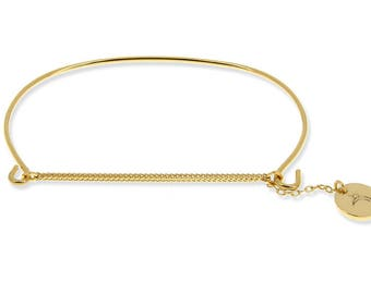Bangle gold plated curb chain