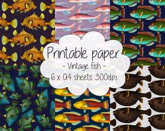 Printable paper: Vintage fish set