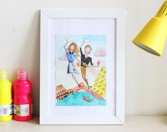 Small Custom Couple Portrait - Traveling Couple Illustration - Mixed-Media Original Painting - Couple Gift