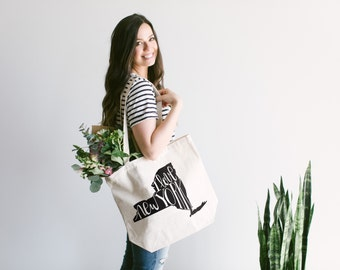 """NEW YORK Tote Bag •Hand Lettered Design • Typographic """"I Love New York"""" Cotton Canvas Tote Bag • New York State Calligraphy • FREE Shipping"""