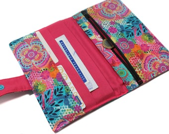 women's wallet in colorful fabric - mate wallet - mother's day birthday gift, wallet / checkbook / cards / coins