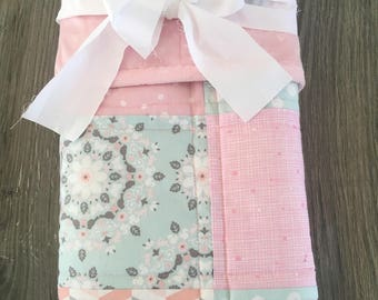 Bunny Baby Quilt~ Patchwork Baby Quilt~ Minky Blanket Girl~ Crib Quilt~ Baby Girl Quilt~Pink Baby Quilt