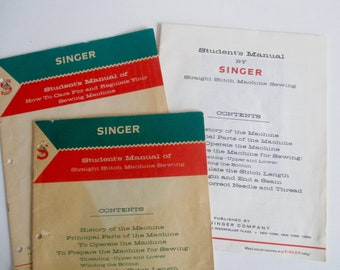 3 Singer Students Sewing Manuals