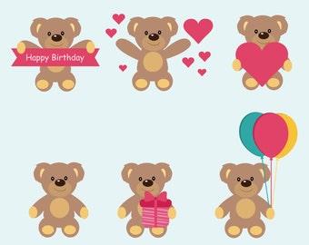 Teddy Bear, Clip Art , Teddy Bear vector, Instant Download ,Commercial use, Vector Teddy Bear