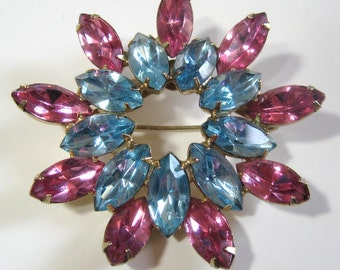 "Vintage 50s Pin Aqua & Pink Rhinestone, 2"" Double Starburst Wreath Brooch, 1950s Prong Set Mid Century Turquoise Blue + Rose Marquise Stones"