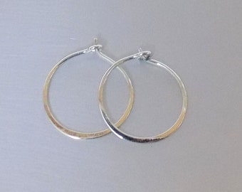 Small Hoops Sterling Silver 925 Earrings 16mm Thin Minimalist