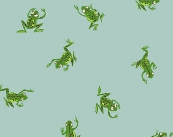 Frogs in Pale Blue - Kinder by Heather Ross - quilting cotton fabric - half yard or more