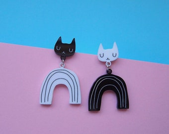 Monochrome Rainbow Cat Earrings - Cat earrings - Rainbow Earrings - Black Cat - Acrylic jewellery - Laser cut jewellery - Cat jewellery -