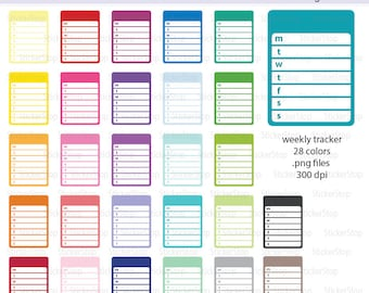 Monday Start Weekly Plans or Weekly Planner Digital Clipart - Instant download PNG files