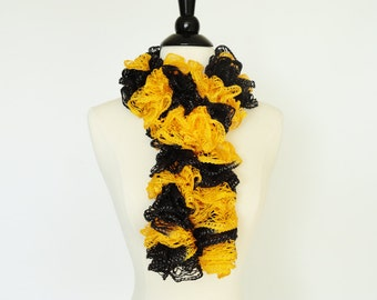 Ruffle Scarf Fashion Knit Scarf Golden Yellow, Black - Girls Scarf, Team Scarf, Accessories, Gift For Her, Womens Scarf, Boa, Unique Scarves