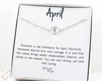 April Birthstone Silver Bracelet, Crystal Bangle Bracelet, April Crystal Bracelet, Silver Bracelet, April Birthstone Bracelet