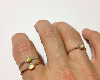 Opal stacking ring in silver