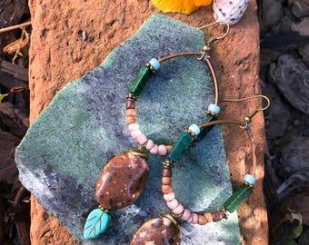 hoop EARRINGS, hand beaded, stone hoop earrings, lightweight earrings, turquoise and copper, leaf earrings, Zasra