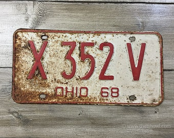 Vintage Ohio License Plate 1968 | Red White Brown Rusty | Man Cave Decor | Old Collectible | For Him | Garage