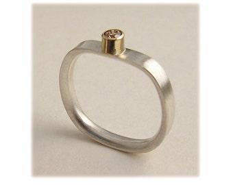 Diamond, Silver and 14k Gold Bezel Set Ring, Diamond Stack Ring