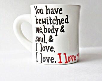 Pride and Prejudice, Quote Mug, Romantic Valentine Gift for boyfriend, husband, literary gift, jane austen, pride prejudice quotes, bookworm