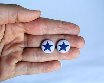 Petite White and Blue Star Fabric Button Earrings, Patriotic Earrings, 4th of July, Earring Post/Stud, Red White and Blue