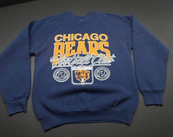 Vintage 80s chicago bears football club crewneck sweatshirt mens L fits M nfl spellout puff print