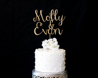 Custom Name & Name Wedding Cake Topper-Gold