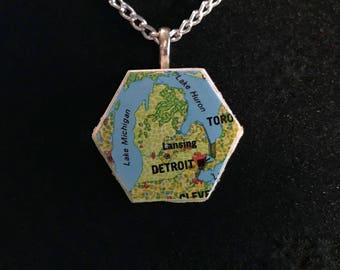 Great Lakes Atlas Necklace