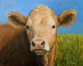 Guernsey Cow, Cow Art, Farm Animal Print 2017, Looking over Shoulder, Cow Painting, Modern Farm Art, Original Painting by Dottie Dracos